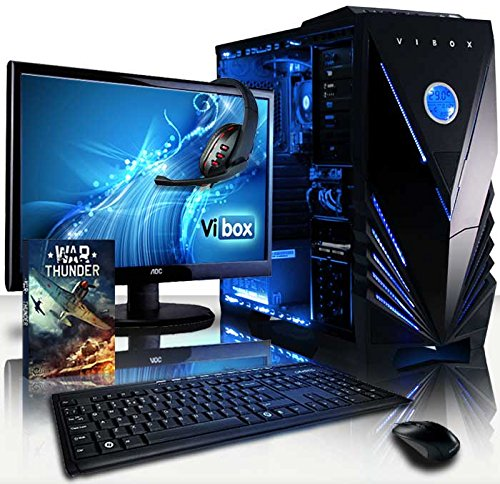 Vibox VBX-PC-5043 Vision Paket 2W 54,6 cm (21,5 Zoll) Gaming Desktop-PC (AMD A Series A4-6300, 8GB RAM, 1TB HDD, AMD Radeon HD 8370D, Win 10 Home) blau