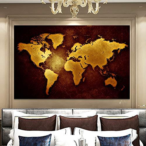 NIMCG Quadro Astratto Moderno e Stampa su Tela Wall Art Pittura Oro Mappa del Mondo Decorazione Immagine per Soggiorno Decorazione della casa (Senza Cornice) A2 20x30CM