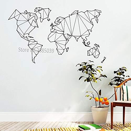haotong11 Mapa Abstracto Mundo Geografía Pegatinas de Pared para la Sala de Estar Dormitorio Vinilo Etiqueta de la Tierra Decoración del Hogar Etiqueta de La Pared Extraíble 56 * 32 cm