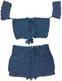 Baoblaze Bañador de Crochet Estilo Boho Tejido Suave Tejido de Punto Costura Chic Ropa Playera Transpirable