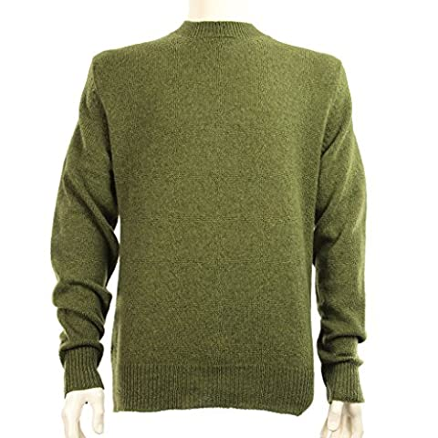 Shetland wool crew neck sweater-Pea Green-Medium