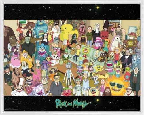 Rick Y Morty Póster Mini con Marco (Plástico) - Elenco, Todos Los Personajes (50 x 40cm)