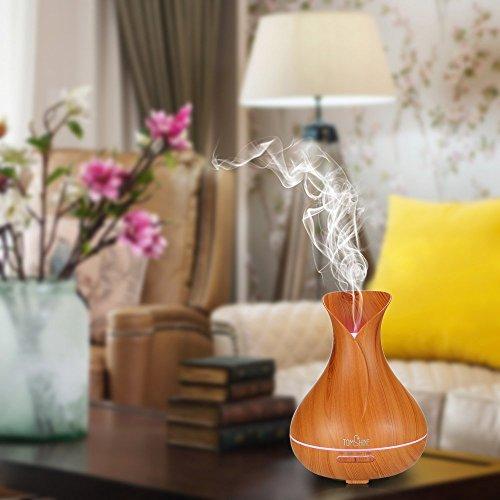 TOMSHINE 400ml Aroma Diffusor Luftbefeuchter Humidifier Holzmaserung mit 7 Lichtfarbe Niedrigwasserschutz für Aromatherapie Wohnzimmer - 6