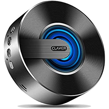 Clavier Pluto Portable Bluetooth Speaker, Bluetooth 5.0 Wireless Speakers with HD Sound and Rich Bass, LED Flashing Light, Built-in Mic for iPhone & Android - Black