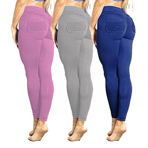 Legging Femme taille haute Pantalons de survêtement Femmes Yoga Pantalon Push Up Collants élastique pantalons Jogging doux confortable Fitness Gymnastique Leggins Hibote Violet