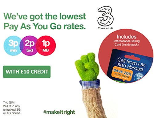Three UK PAYG Trio SIM with £10 Credit + International Calling Card - (Love2surf RETAIL PACK)