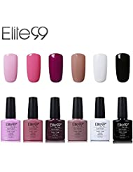 Elite99 Vernis Semi-Permanent Vernis à Ongles UV LED Soak Off Kit 6 Couleurs X 7.3ml