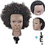"Ersiman 10"" Afro Hairdressing Mannequin Head 100% Human Hair Cosmetology Manikin Training Head with Free Clamp"
