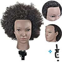 """Ersiman 10"""" Afro Hairdressing Mannequin Head 100% Human Hair Cosmetology Manikin Training Head with Free Clamp"""