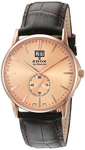 Edox Men's 64012 37R ROIR Les Bemonts Analog Display Swiss Quartz Brown Watch