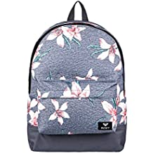 Roxy Sugar Baby Mochila Pequeña, Mujer, Rosa/Gris (Charcoal Heather Flower Field