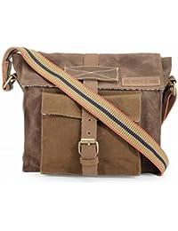 The House Of Tara Dual Tone Distress Finish Canvas Messenger Bag (Rustic Brown) HTMB 062