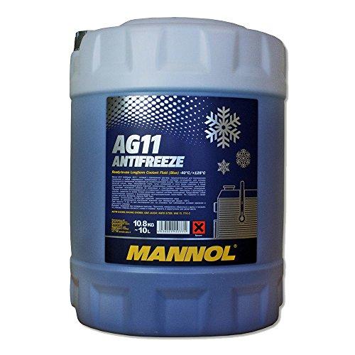 1 x 10L MANNOL AG11 Antifreeze / Kühlerfrostschutz -40 Grad Ready-Mix Blau G11