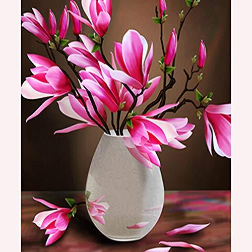 DIY 5D Diamant Malen nach Zahlen Kit, Full Crystal Strass Stickerei Kreuzstich Kunst Craft Leinwand Wand Dekoration Magnolia Vase Square drill Crystal Square Vase