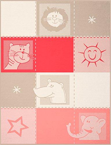 biederlack Lovely et Sweet Zoo, mélange de Coton, Rose, Unique