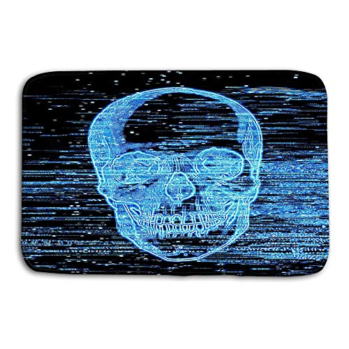 Tyuyui Doormat Indoor Outdoor Television Horror Channel Broken Picture Scary Blue Skull Scratches Screen mat Outdoor-channel-tv -