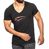 SMILODOX, maglietta da uomo con scollo a V, per Sport, Fitness, palestra e tempo libero, Slim Fit, con Stampa nero Medium