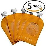 babalino EasyPouch - der wiederverwendbare Quetschbeutel, Quetschie Snacker als Behälter zur Aufbewahrung, zum Befüllen und Einfrieren von Babynahrung und Frucht-Smoothie, BPA und PVC frei, 5er Pack