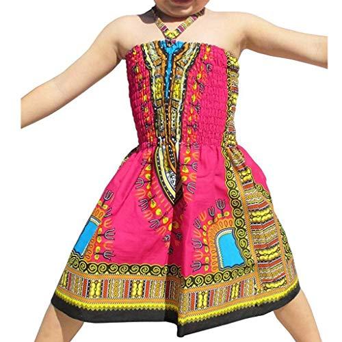 MCYs Chirdren Mädchen Kinder Baby Ärmellos gekräuselten Riemen Kleidung afrikanische Prinzessin Kleid