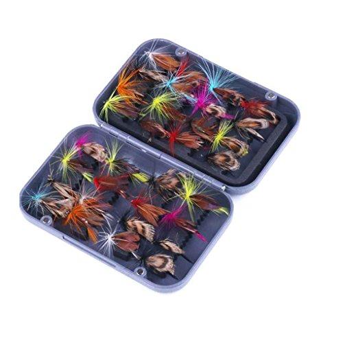 fish 32pcs insectos señuelo artificial de la mosca de la mariposa colorida cebo de pesca con mosca de pesca anzuelos simples trastos Fishooks