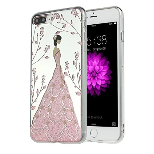 MOONCASE iPhone 7 Plus Coque, Bling Glitter Etui TPU Silicone Antichoc Housse Case pour iPhone 7 Plus (Arbre Fille - Argent) Rose Fille - Rose