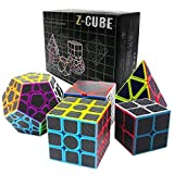 Carbon Fiber Zauberwürfel Geschenkkarton Set 2x2x2,3x3x3,Meganminx , Skewb , Pyraminx Cube (Set02)