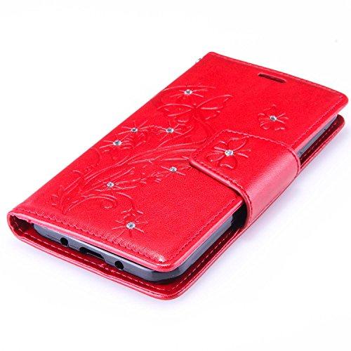 Custodia Galaxy J3 ISAKEN Cover Samsung Galaxy J3 con Strap, Elegante borsa Dente di leone Design in Pelle Sintetica Ecopelle PU Case Cover Protettiva Flip Portafoglio Case Cover Protezione Caso con S Diamnate farfalle : rossa