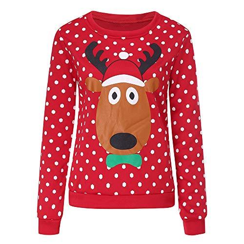 TEBAISE Christmas Sweater Damen Sweatshirt Pullover Merry Christmas Rentier Weihnachten Pulli Elf Frauen Unisex Rudolph Print 3D Weihnachtspullover Sweater