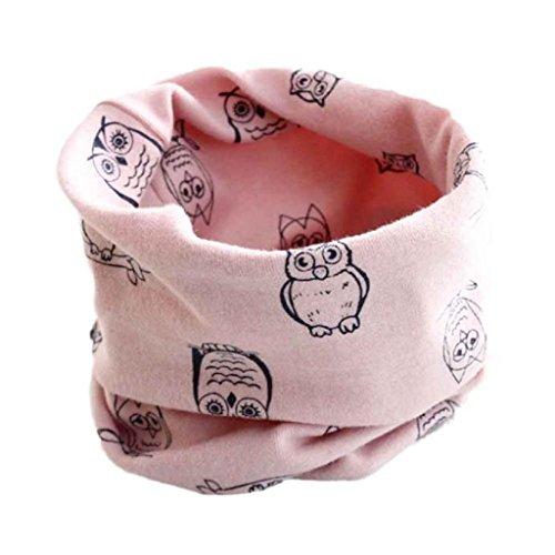 Babybekleidung Schals Longra Herbst-Winter-Baby-Mädchen-Eulen Kragenbaby -Schal Baumwolle O-Ring Halstücher (40 * 40cm) (Pink)