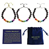 Believe London Chakra Bracelet With Jewellery Bag & Meaning Card   Adjustable Bracelet To Fit Any Wrist   7 Chakra Natural Stone   Healing Reiki Yoga (Silver Chain)