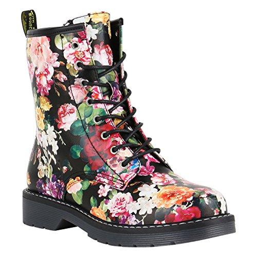 Geschnürte Damen Worker Boots Profil Sohle Punker Stiefeletten Schuhe 149783 Schwarz Blumen Prints 39 | Flandell®