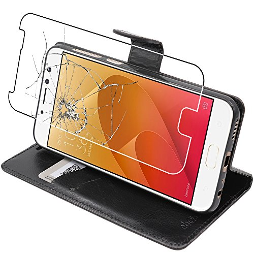 ebestStar - Asus Zenfone 4 Selfie Pro Hülle ZD552KL Kunstleder Wallet Case Handyhülle [PU Leder], Kartenfächern Standfunktion, Schwarz + Panzerglas Schutzfolie [Phone: 154 x 74.8 x 6.9mm, 5.5'']