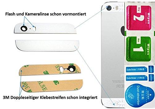 WEIß 2-in-1 Ersatz Glas Set (Oben / Unten) für iPhone 5S Backcover mit Blitz- und Kameralinse - Glasset inkl. 3-in1 Reinigungset - - Iphone Ersatz-linse 5c