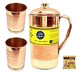 #8: NORTH ELEVEN Copper Jug Pitcher with 2 Glass Tumbler, Serveware & Drinkware, Ayurveda, set of 3