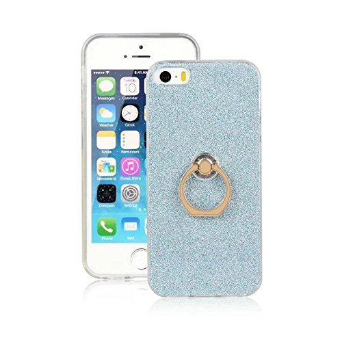 EKINHUI Case Cover Luxus Bling Sparkle Style Case, Soft TPU [Silikon] Flexible Glitter Back Cover mit Fingerring Stand [Anti Scratch] [Shockproof] für iPhone 5 & 5s & SE ( Color : Gold ) Blue