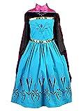 La Señorita Disfraz de Elsa Princesa de las Nieves vestido de coronacion negro-azul con capa rosa + Collar (6-7 años)
