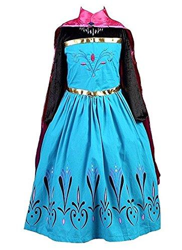 La Senorita Elsa Frozen Kostüm Krönung Eiskönigin Kostüm Prinzessinnen kleid + Gratis Frozen Kette (Größe 6-7 Jahre - 122-128 (140))