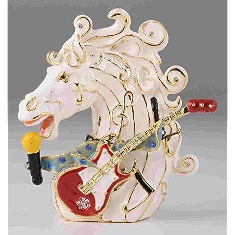 Caballo de música estilo Joyero caja hecha a mano decorado con cristales de Swarovski