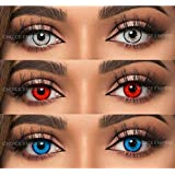 Choice Empire 3 Pair Monthly Color Contact Lenses 0 Power with Lens Case (Grey,Red,Sky Blue)