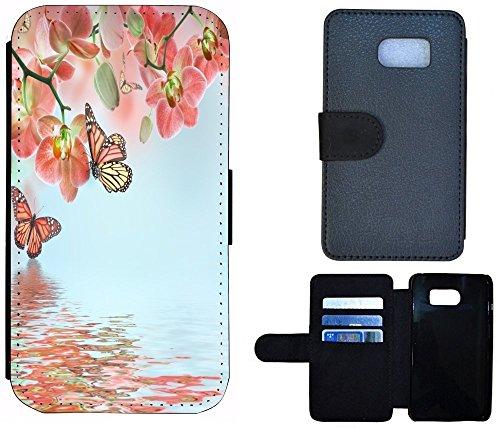 Flip Cover Schutz Hülle Handy Tasche Etui Case für (Apple iPhone 5 / 5s, 1103 London Big Ben England Rot Grau) 1102 Orchidee Schmetterling Rosa Grün Blau