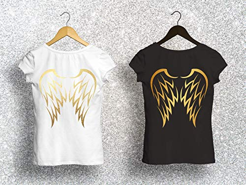 Bedrucktes Damen T-Shirt mit Flügeln (Womens Schwarzer Engel-flügel-shirt)