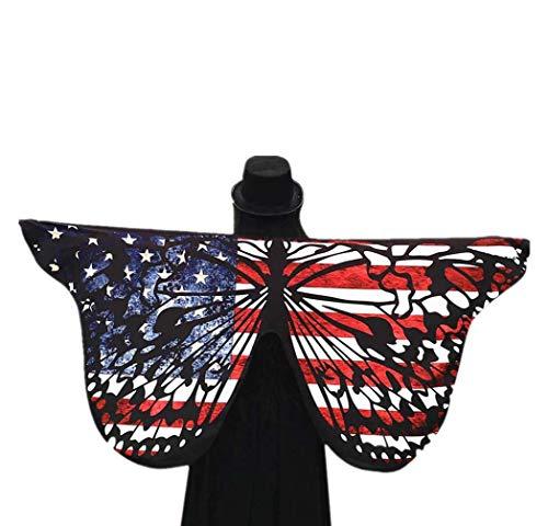 Andouy Damen Schmetterlingsflügel Schal Tuch Poncho Umhang Nymphe Pixie Flügel für Party Halloween Weihnachten Cosplay(145X65CM.Weiß)