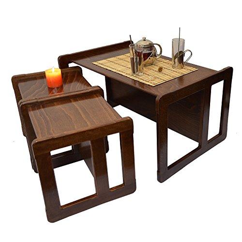 Obique 3 en 1 Nid des Trois Tables de Café Multifonctionnelles pour Adultes ou Ensemble de 3 pour Enfants, deux Petites Chaises ou Tables et un Grand Banc ou Table en Bois de Hêtre, Vernis Foncé