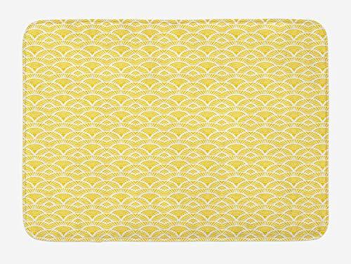 JIEKEIO Abstract Bath Mat, Hand Drawn Vintage Half Circles Sun Themed Bohemian Ornamental Vibrant Pattern, Plush Bathroom Decor Mat with Non Slip Backing, 23.6 W X 15.7 W Inches, Yellow White Half Moon Knife