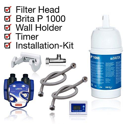 BRITA dispositivo filtro dell'acqua, kit di installazione, filtro cartuccia BRITA P1000, filtro testa, indicazione sostituzione delle cartucce, tubi, Adattatore valvola