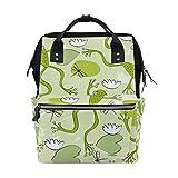 TIZORAX - Mochila de pañales con diseño de ranas y libélulas, gran capacidad, multifunción,...