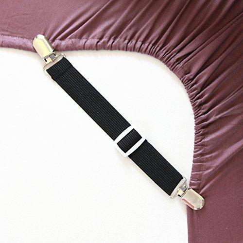 Bretelle Regolabili Per Lenzuola Con Ganci, Confezione Da 4, Colore: Nero