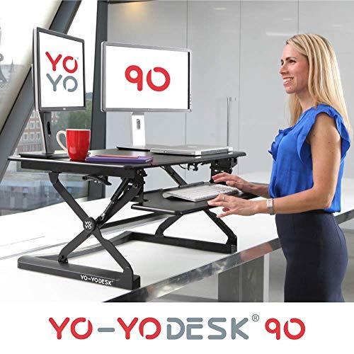 Yo-Yo DESK 90 | 36' (Schwarz) | Steh Sitz Schreibtisch Aufsatz. Höhenverstellbarer Schreibtisch (90...