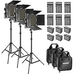 Neewer 3-Pièce 660 LED Lampe de Vidéo Dimmable Bi-Couleur avec Coupe Flux et Support de lumière, 6 6600mAh Batterie Li-ION Rechargeable et Chargeur pour Photos de Studio, Youtube Vidéo (Noir)