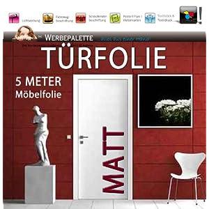 Die Werbepalette (EUR 4,93/Quadratmeter) 5 Meter x 105 cm Türfolie MATT Deko Plotterfolie + weiß + Klebefolie